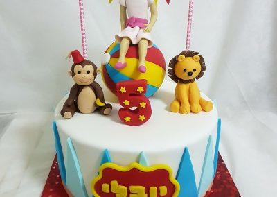 עוגת קרקס לילדה שאוהבת חיות