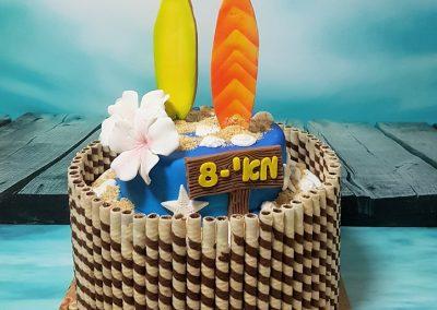 עוגת גלשנים עם פרחי הוואי