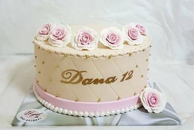 עוגת בת מצווה עם ורדים