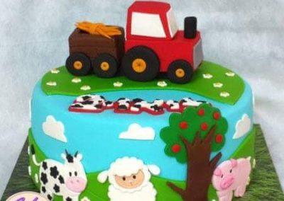 עוגת טרקטור וחיות