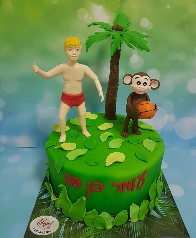 עוגת בחור שרוקד עם קוף