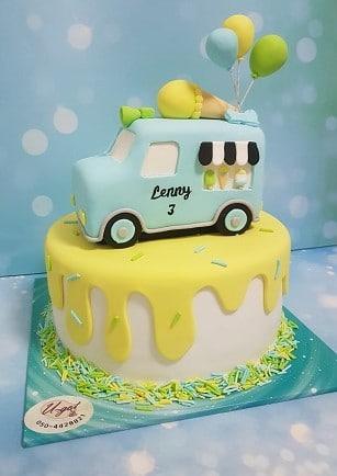 עוגת אוטו גלידה ובלונים