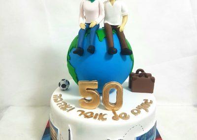 עוגה לזוג שאוהב לטייל בעולם