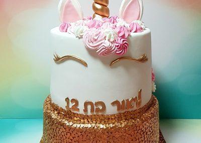 עוגת חד קרן ורוד זהב