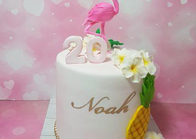 עוגת פלמינגו ופרחים