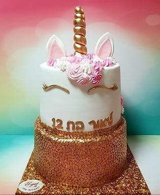 עוגת חד קרן זהב ורוד