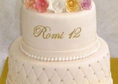 עוגת בת מצווה 5 פרחים צבעוניים