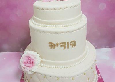 עוגת בת מצווש עם פרח