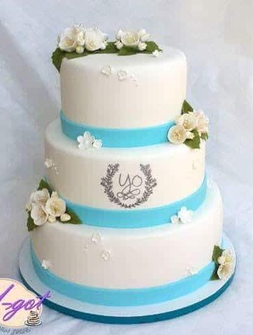 עוגת חתונה פס תכלת