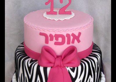 עוגת בת מצווה זברה
